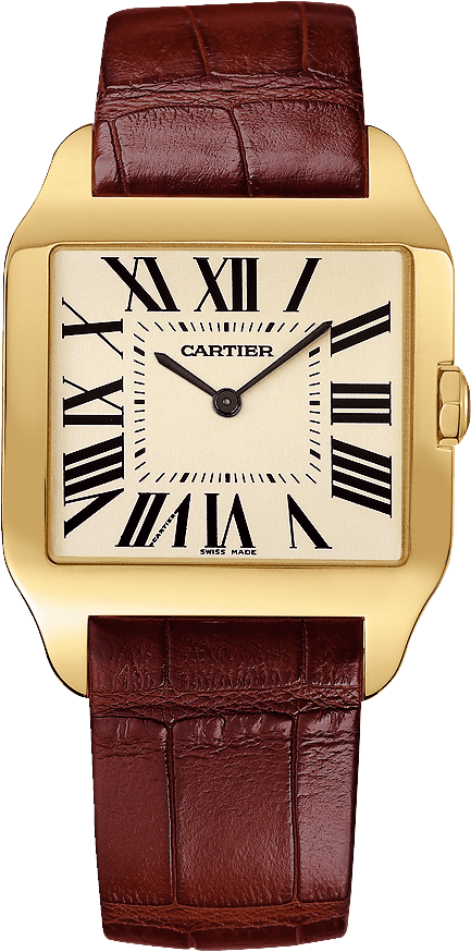 Santos-Dumont watchLarge model, hand-wound mechanical movement, rose gold, leather