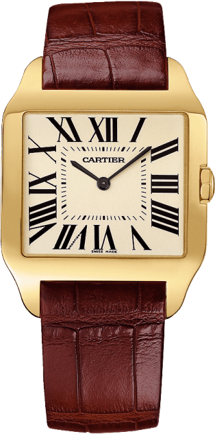 Santos-Dumont watch Large model, hand-wound mechanical movement, rose gold, leather
