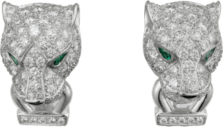 Panthère de Cartier earrings White gold, diamonds, emeralds, onyx