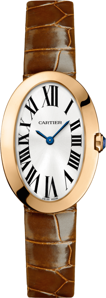 Baignoire watch, small modelSmall model, pink gold, leather