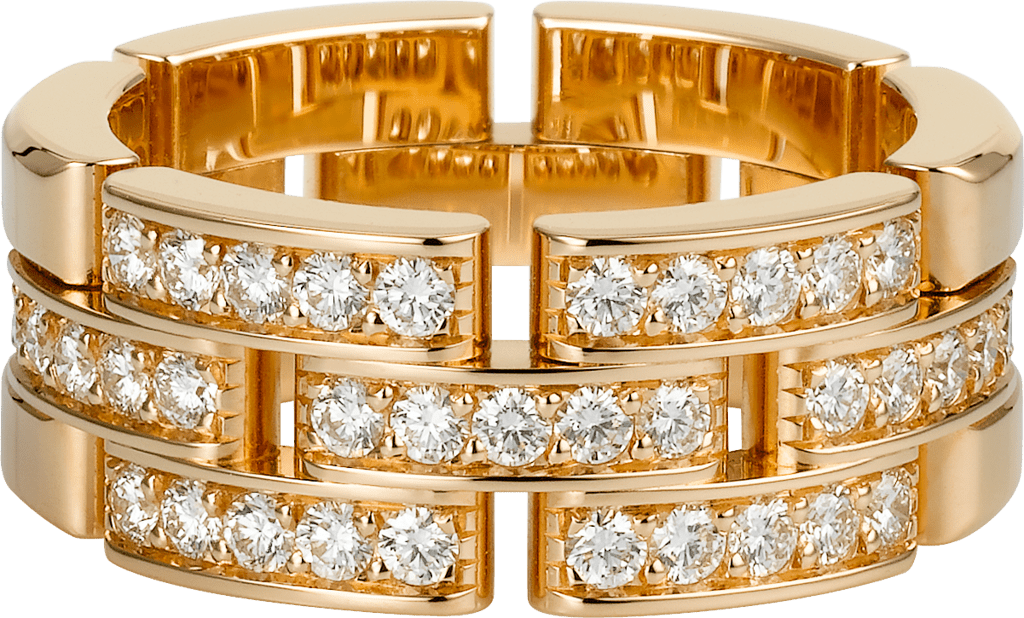Maillon Panthère ring, 3 half diamond-paved rowsPink gold, diamonds