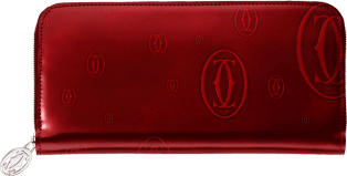 Happy Birthday Small Leather Goods, zipped international wallet Burgundy calfskin, palladium finish