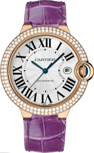 Ballon Bleu de Cartier watch 42 mm, 18K pink gold, leather, sapphire, diamonds