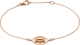 Logo bracelet Pink gold, diamonds