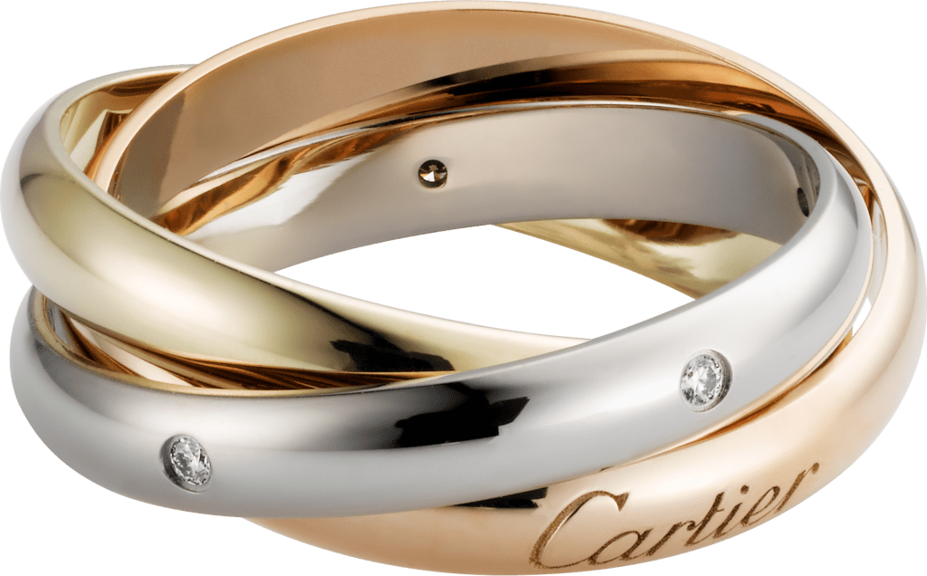 Trinity ringWhite gold, yellow gold, pink gold, diamonds