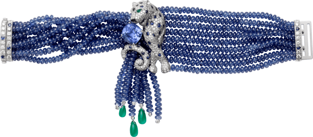 Panthère de Cartier High Jewelry braceletPlatinum, sapphires, emeralds, onyx, diamonds