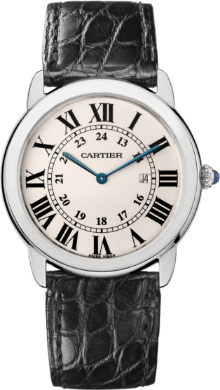Ronde Solo de Cartier watch 36 mm, steel, leather
