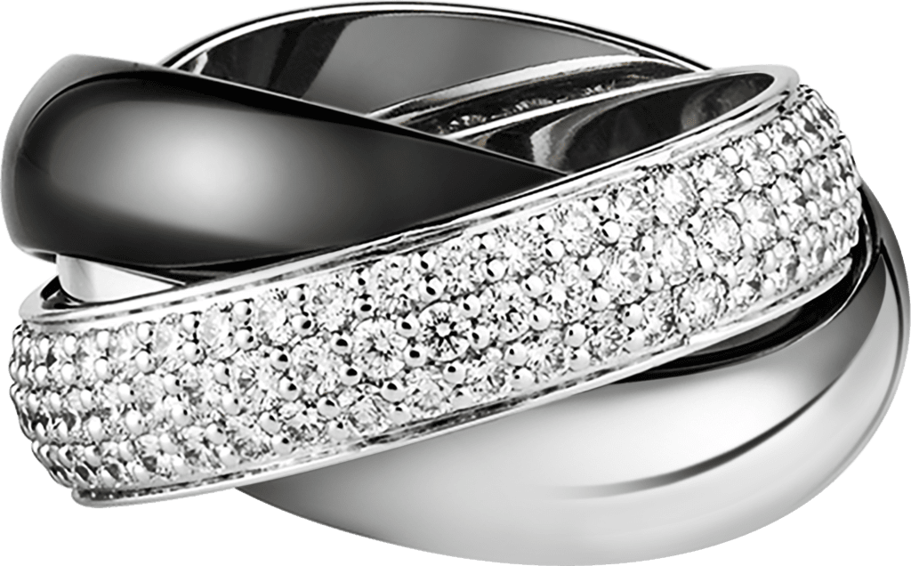 Trinity ring, LMWhite gold, ceramic, platinum, diamonds