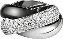 Trinity ring, ceramic, LM White gold, diamonds, ceramic