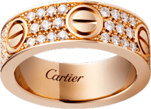Love ring, diamond-paved Pink gold, diamonds
