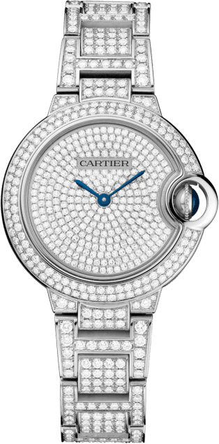 Ballon Bleu de Cartier watch 33mm, automatic movement, white gold, diamonds
