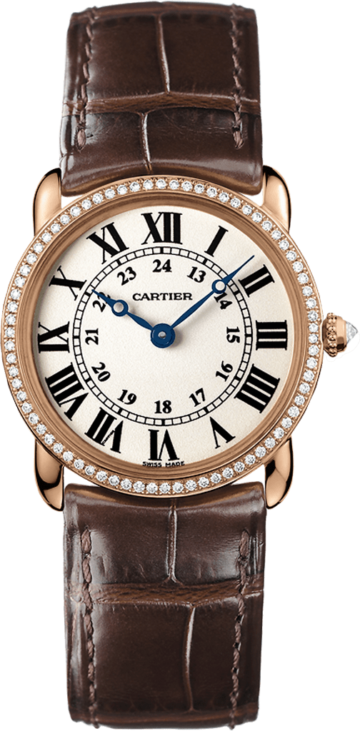 Ronde Louis Cartier watch29mm, quartz movement, rose gold, diamonds, leather