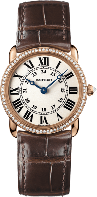 Ronde Louis Cartier watch 29 mm, pink gold, leather, diamonds