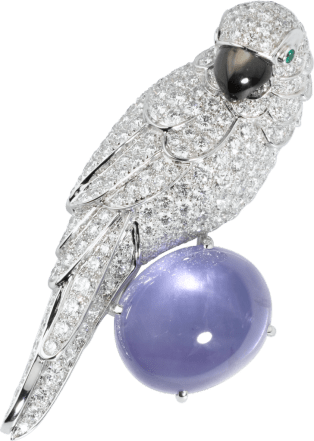 Cartier High Jewelry Fauna and Flora brooch Platinum, sapphire, emeralds, mother-of-pearl, diamonds