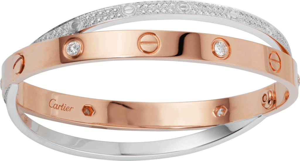 Love bracelet, diamond-pavedPink gold, white gold, diamonds