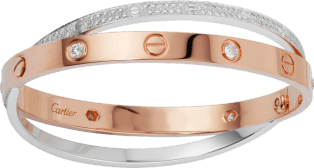 Love bracelet, diamond-paved Pink gold, white gold, diamonds
