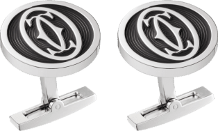 Double C logo decor cufflinks Sterling silver, palladium finish, black lacquer