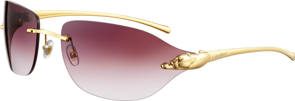 Panthère de Cartier sunglassesMetal, smooth golden finish, purple lenses