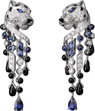 Panthère de Cartier earrings Platinum, sapphires, onyx, diamonds