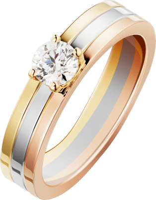 Trinity Solitaire White gold, yellow gold, pink gold, diamond