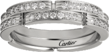 Maillon Panthère thin wedding band, 2 half diamond-paved rows White gold, diamonds