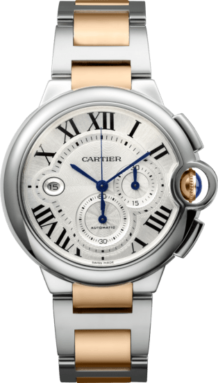 Ballon Bleu de Cartier watch XL model, 18K pink gold, steel