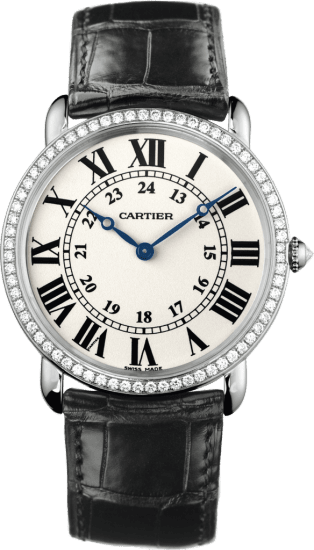 Ronde Louis Cartier watch 36mm, hand-wound mechanical movement, white gold, diamonds, leather