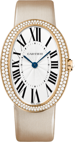 Baignoire watch, large model Large model, hand-wound mechanical movement, rose gold, diamonds, canvas