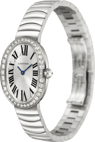 Baignoire watch, small model Small model, rhodiumized 18K white gold, diamonds