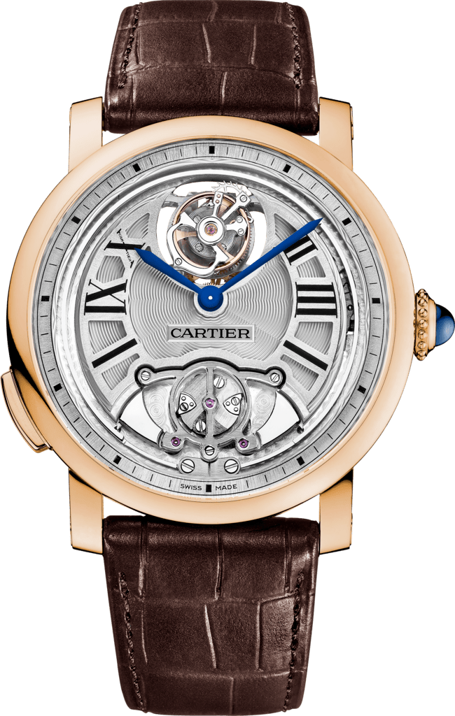 Rotonde de Cartier Minute Repeater Flying Tourbillon watch45 mm, manual, 18K pink gold, leather