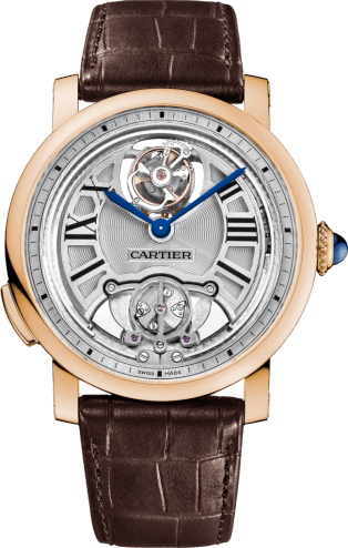 Rotonde de Cartier Minute Repeater Flying Tourbillon watch 45 mm, manual, 18K pink gold, leather
