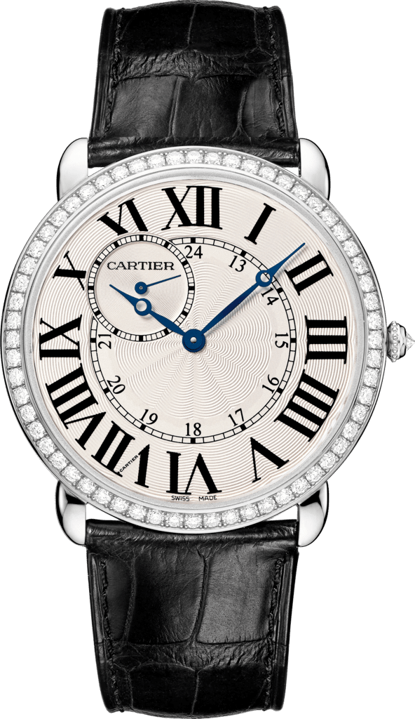 Ronde Louis Cartier watch42mm, hand-wound mechanical movement, white gold, diamonds, leather