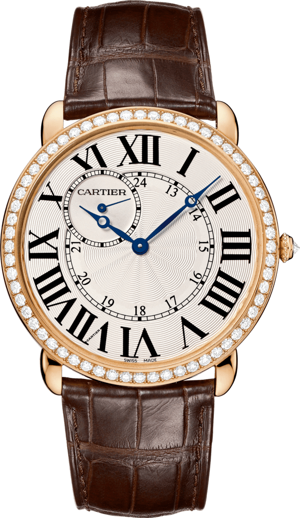 Ronde Louis Cartier watch42mm, hand-wound mechanical movement, rose gold, diamonds, leather