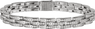 Maillon Panthère thin bracelet, 3 diamond-paved rows White gold, diamonds