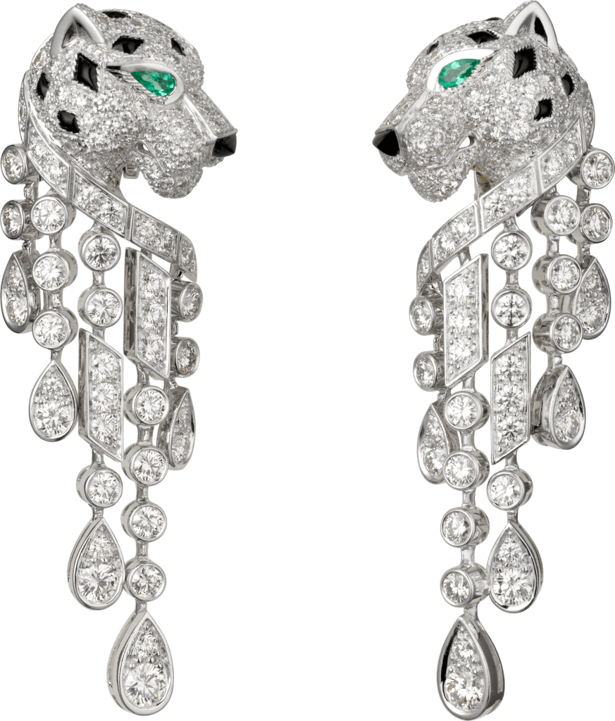 Panthère de Cartier earringsPlatinum, emeralds, onyx, diamonds
