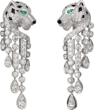 Panthère de Cartier earrings Platinum, emeralds, onyx, diamonds