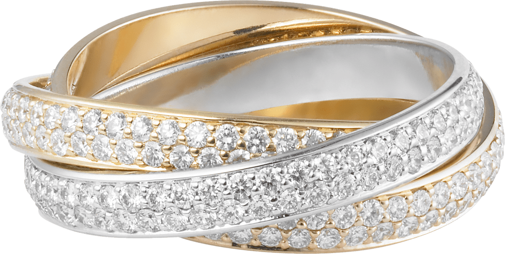 Trinity ring, small modelWhite gold, yellow gold, pink gold, diamonds
