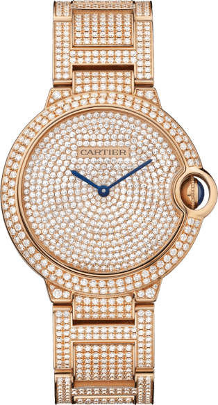Ballon Bleu de Cartier watch 36mm, automatic movement, pink gold, diamonds