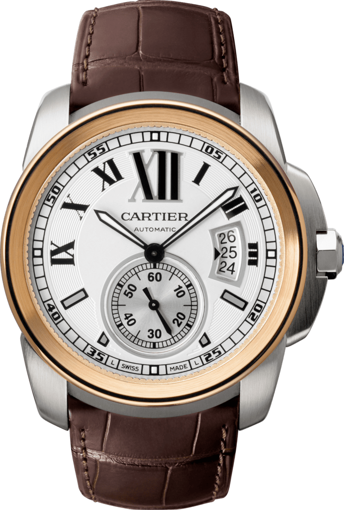 Calibre de Cartier watchLarge model, 18K pink gold and steel