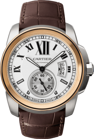 Calibre de Cartier watch Large model, 18K pink gold and steel