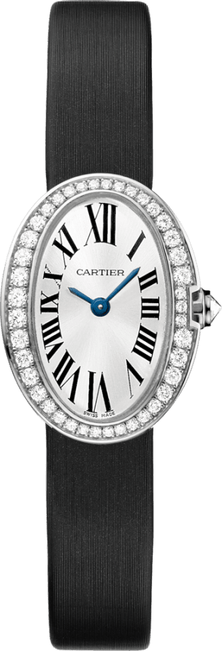 Mini Baignoire watch Mini model, quartz movement, white gold, diamonds, canvas