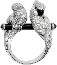 Les Oiseaux Libérés ring White gold, sapphires, emeralds, onyx, black ceramic, diamonds