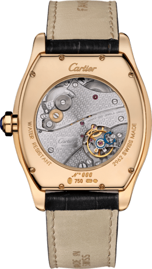 Tortue XL watch Extra-large model, hand-wound mechanical movement, rose gold, leather