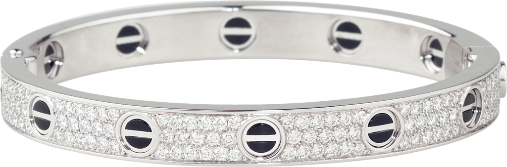Love bracelet, diamond-paved, ceramicWhite gold, ceramic, diamonds