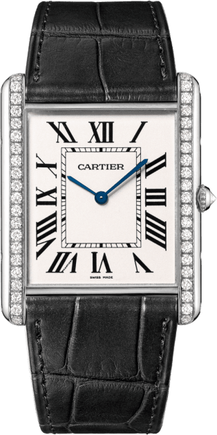 Tank Louis Cartier watch XL model, rhodiumized 18K white gold, leather, diamonds