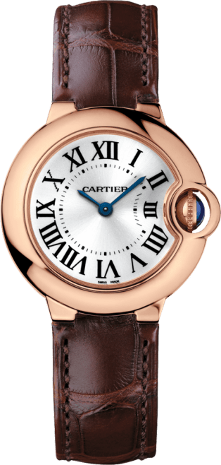 Ballon Bleu de Cartier watch 28mm, quartz movement, pink gold, sapphire, leather