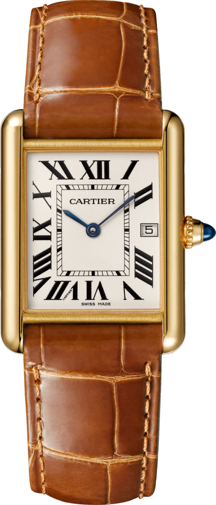 Tank Louis Cartier watchLarge model, 18K yellow gold, leather, sapphire