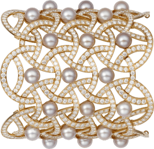 Paris Nouvelle Vague High Jewelry bracelet Pink gold, freshwater pearls, diamonds
