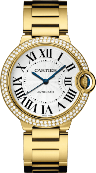 Ballon Bleu de Cartier watch 36mm, automatic movement, yellow gold, diamonds