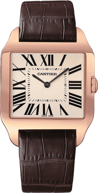 Santos-Dumont watch Large model, 18K pink gold, leather, sapphire